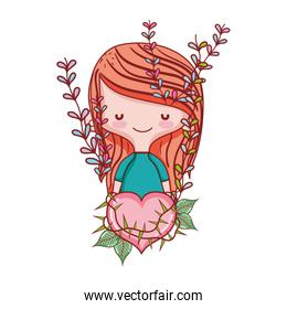 woman hairstyle and thorned heart with branches