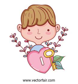 man hairstyle and heart padlock with key