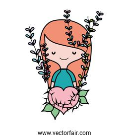 color woman hairstyle and thorned heart with branches