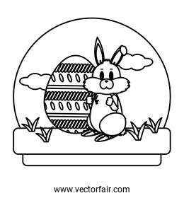 line cute rabbit with eggs easter decoration