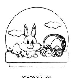 grunge rabbit lying and hamper with eggs easter