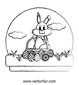 grunge rabbit with hamper and eggs easter decoration