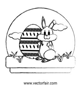 grunge cute rabbit with eggs easter decoration