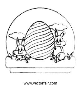 grunge rabbits animals with egg easter decoration