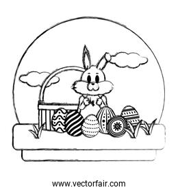 grunge rabbit standing with hamper and eggs easter