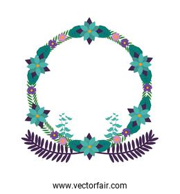 circle branches with exotic leaves and flowers