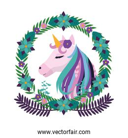 unicorn inside circle branches flowers and leaves