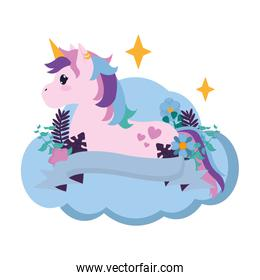 nice unicorn seating in the cloud with ribbon and flowers