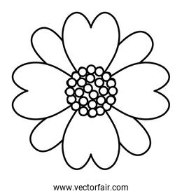 line cute tropical flower with petals style