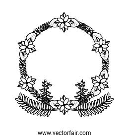 line circle branches with exotic leaves and flowers