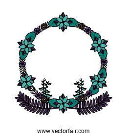 color circle branches with exotic leaves and flowers