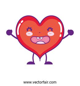 kawaii funny heart with arms and legs