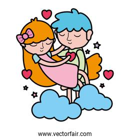color boy and girl sleeping with hearts and clouds