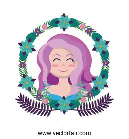 pretty woman hairstyle with branches leaves and flowers