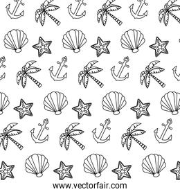 line exotic marine plants and anchor background