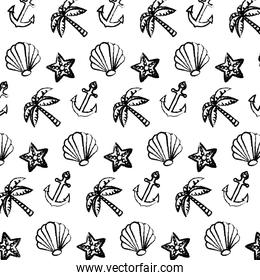 grunge exotic marine plants and anchor background