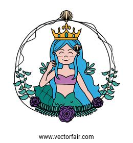 color beauty siren woman with branches leaves and flowers