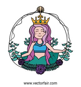 color cute siren woman with crown hairstyle