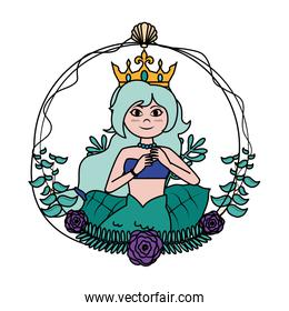 color siren woman with crown hairstyle and shell