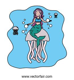 color cute siren woman with jellyfishes animals