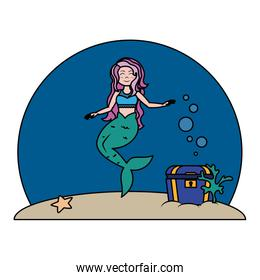 color siren woman under sea with chest
