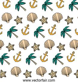 color exotic marine plants and anchor background
