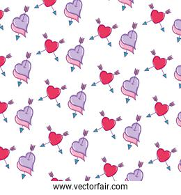 romantic hearts and arrow style background