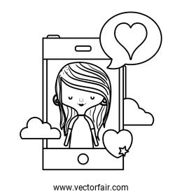 line woman with smartphone and heart inside chat bubble