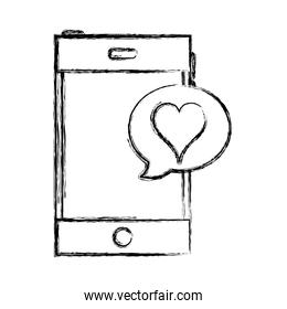 grunge smartphone technology with heart inside chat bubble