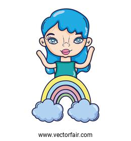 pretty woman with cute rainbow and clouds