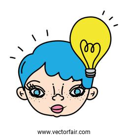 color woman head with hairstyle and bulb idea