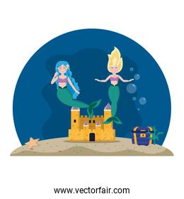 pretty mermaids under water with castle and coffer