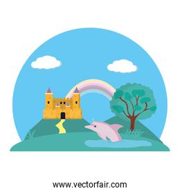 castle palace with rainbow and dolphin landscape