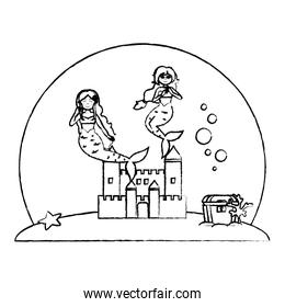 grunge nice mermaids under water with castle and coffer