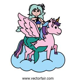color siren woman with hairstyle riding unicorn
