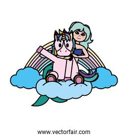 color siren woman with baby unicorn in the cloud