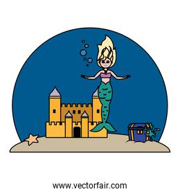 color mermaid under water with castle and coffer
