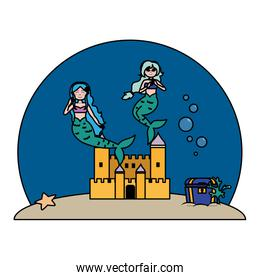color nice mermaids under water with castle and coffer