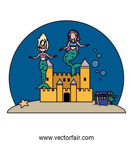 color beauty mermaids under water with castle and coffer