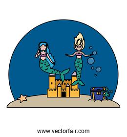 color pretty mermaids under water with castle and coffer
