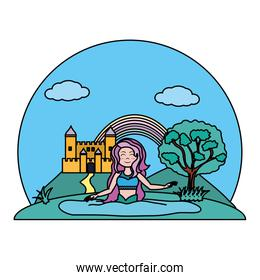 color happy siren woman in the water and castle