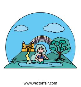 color cute siren woman in the water and castle