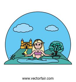 color pretty siren woman in the water and castle
