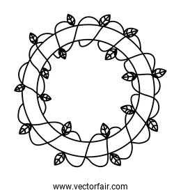 line circle with plant branch and natural leaves