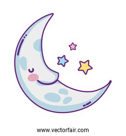 kawaii happy moon with stars in the sky