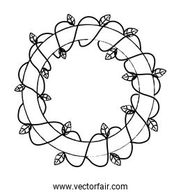 grunge circle with plant branch and natural leaves