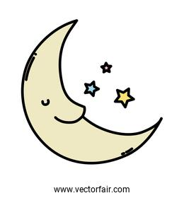 color kawaii happy moon with stars in the sky