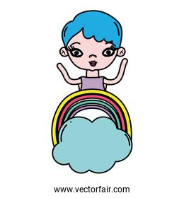 color woman short hairstyle and rainbow with cloud