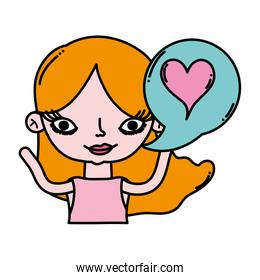 color woman with hairstyle and heart inside chat bubble