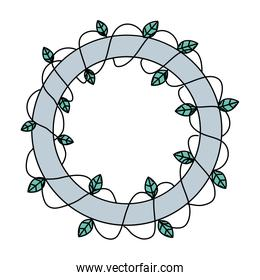 color circle with plant branch and natural leaves